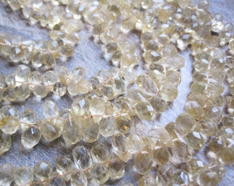 Citrine Teardrops Beads, Faceted Briolette Drops, November Birthstone, Full Strand, Yellow Citrine, 5mm x 8-8.5mm, Loveofjewelry, SKU 1849