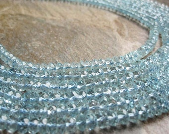 AAA Swiss Blue Topaz Beads Faceted Rondelles, 4mm Rondelles, November Birthstone, SKU 2230A