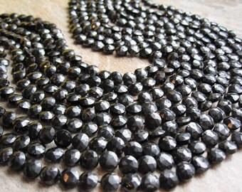 Black Spinel Beads, Faceted Coin, Black Gemstone, SKU 2907