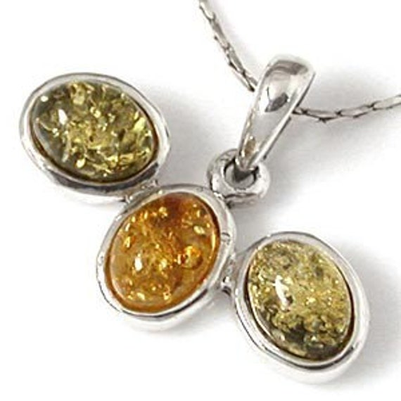 Amber Pendant, Sterling Silver Amber Pendant, Green and yellow Amber
