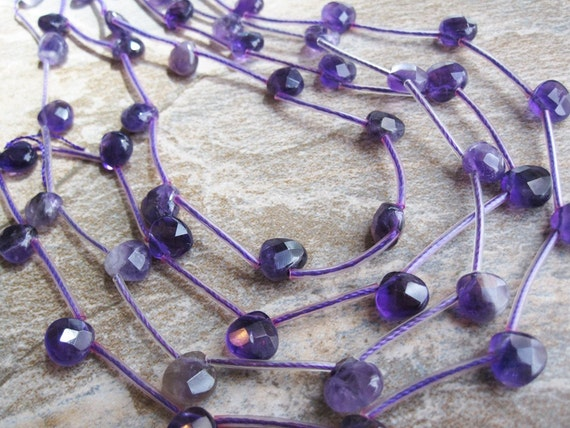 Amethyst Faceted Heart Briolettes
