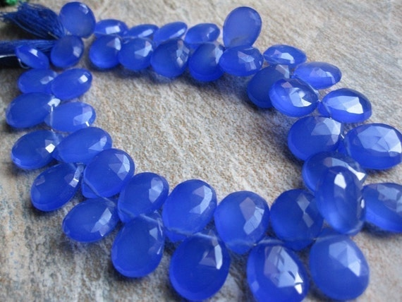 Cobalt Blue Faceted Pear Chalcedony