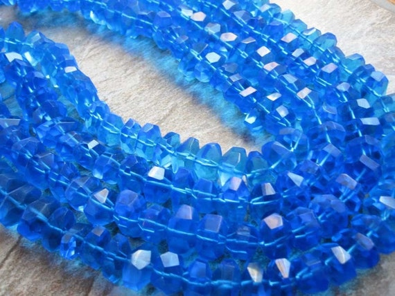 Blue Quartz Faceted Chunky Nuggets FULL STRAND