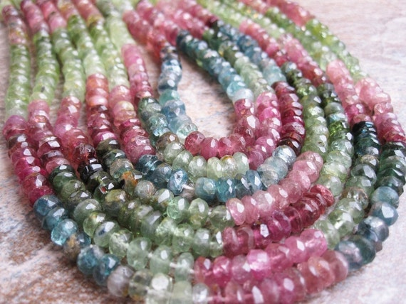 Watermelon Tourmaline Rondelles