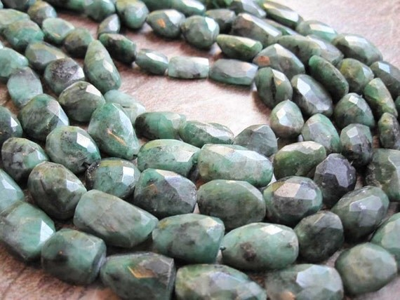 Emerald Faceted Freeform Nuggets FULL STRAND