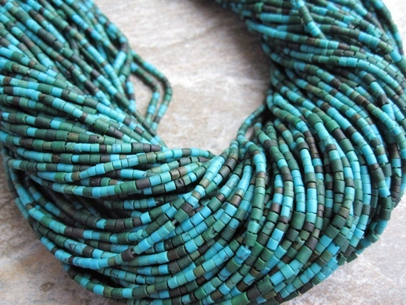 Turquoise Heishi or little tube shape FULL STRAND
