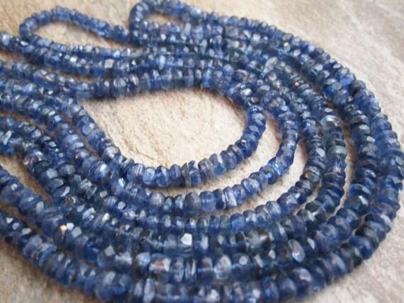 Kyanite Faceted Rondells Beautiful Deep Blue Color