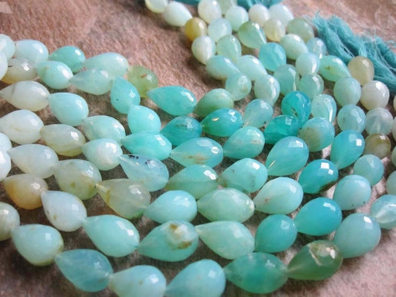 Peruvian Blue Opal Top Drilled Faceted Teardrops Full Strand