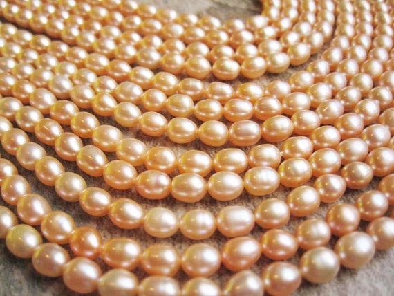 Peach Color Freshwater Pearls Rice Shape FULL STRAND