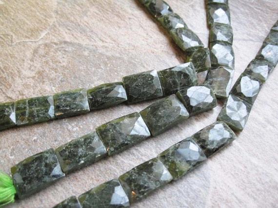 Olive green Vesuvianite Faceted Pillow Shape Full Strand