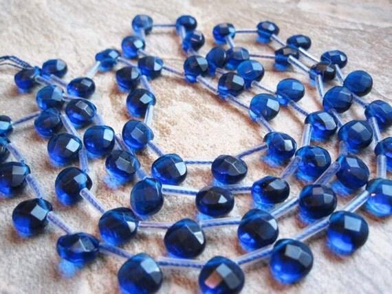 Royal Blue Quartz Faceted Heart Briolettes Full Strand
