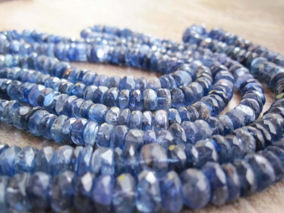 Kyanite Faceted Rondells Beautiful Deep Blue Color