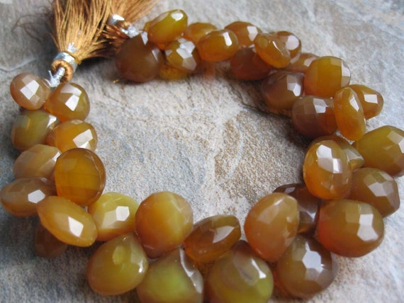 Amber Chalcedony Heart Briolettes Briolettes