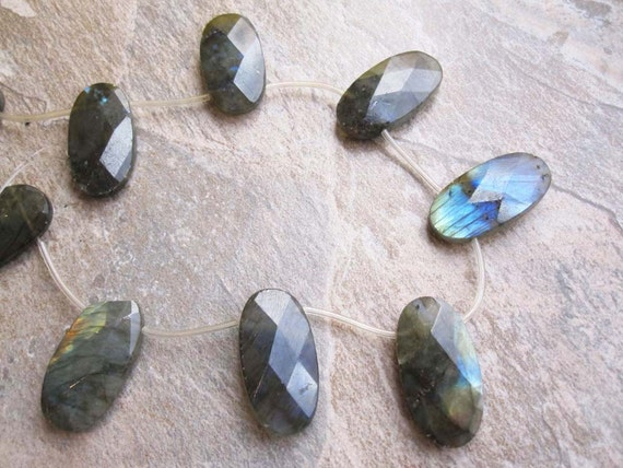 Labradorite Large Faceted Oval Drops Great Focal Pieces