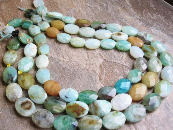 Reserved.......Peruvian Blue Opal Faceted Oval Full Strand