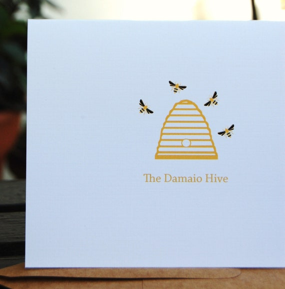 Bee Hive Family Folded Note Cards