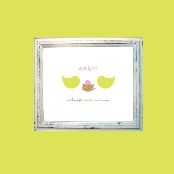 Personalized Baby Print / Baby Room Art / Art Baby Room / Chick Print / Bird Print - Welcome Little One