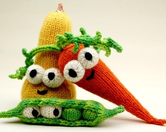 Don't Eat Your Veggies Amigurumi Knitting Pattern with Peas, Carrot, and Squash PDF Download