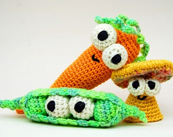 Crochet Don't Eat Your Veggies Amigurumi Plush Toy PDF Pattern Digital Download