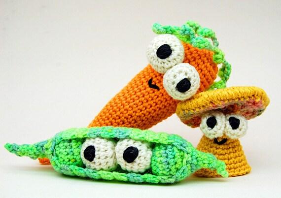 Amigurumi Vegetable Patterns : Crochet Dont Eat Your Veggies Amigurumi Plush Toy PDF