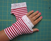 Red and White striped short fingerless gloves Fantasy Arm Warmers