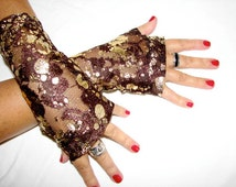 Chocolate and Gold Tatoo Effect Fingerless Gloves