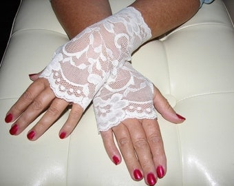 Cream Lace Fingerless Gloves Arm Warmers