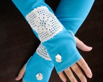 One Pair Only Full Length Mediterranean Blue Fingerless Gloves Arm Warmers Size Medium