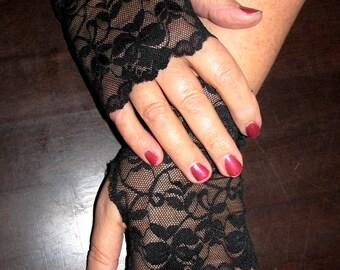 Last Pair Sheer Black Delicate Lace Fingerless Gloves Arm Warmers Vampire Goth