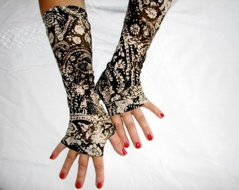 Paisley Creams and Browns Lightweight Fingerless Gloves Arm Warmers