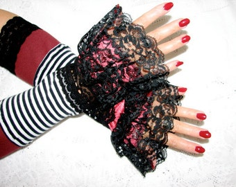 One Pair Only Tribal Belly Dancing Burgandy with Stripes and Black Lace Fingerless Gloves Arm Warmers Size Medium