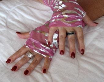 The Metalic Pink Zebra Delicate mesh Fingerless Gloves One Pair Only Size Medium