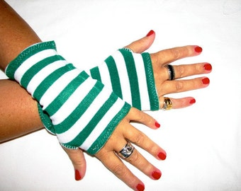 Wheres Waldo or The Wicked Witch Green Striped Fingerless Gloves Arm Warmers