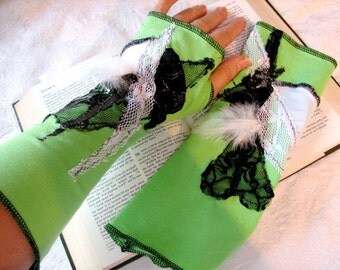 One Pair Only One of a Kind Lime Green with Vintage Lace, Black and White Lace and Feathers Fingerless Gloves Arm Warmers Size Medium