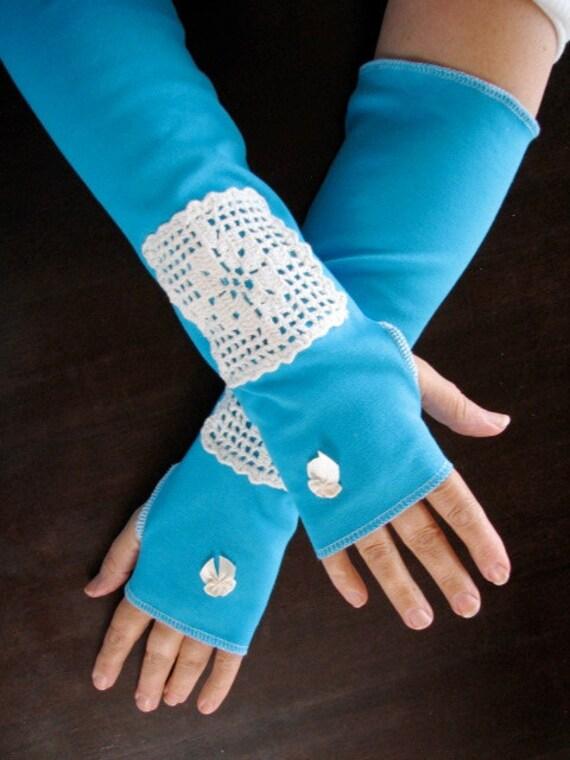 Full Length Mediterranean Blue Fingerless Gloves Arm Warmers