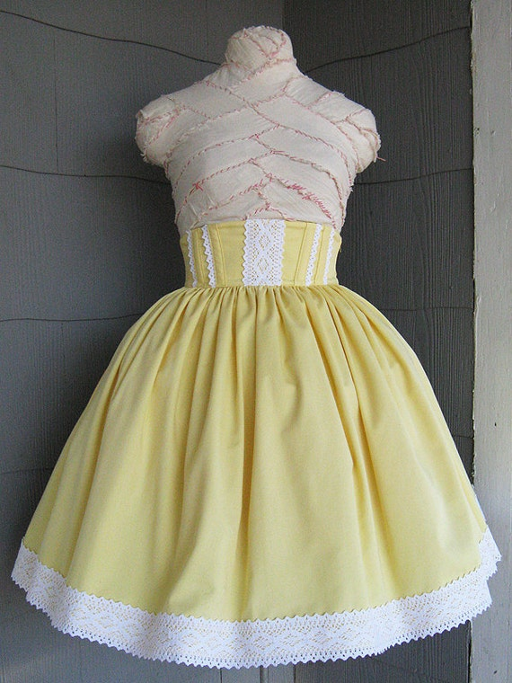 Yellow High Waisted Lolita Skirt - size S/M - Ready to Ship - Bonus Head Bow