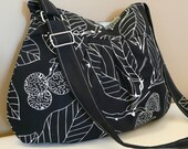 Messenger bag,Tote , Shoulder bag  Adjustable strap,Black Canvas with leaves