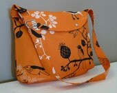 Messenger Bag ,School bag Shoulder bag, Orange canvas with Birds ,adjustable strap