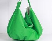 Hobo Bag ,handbag , Shoulder bag , Tote bag ,everyday bag Green with cream lining