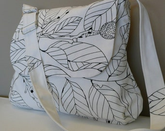JOYFUL...Messenger, Shoulder Bag, Travel Bag White Canvas with leaves