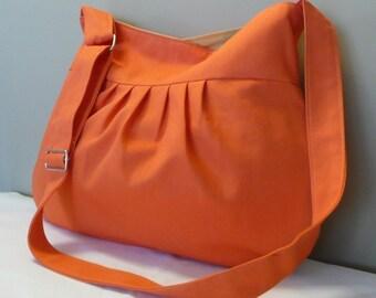 Orange Shoulder Bag...Everyday purse, Messenger Bag Shoulder Bag , Orange Canvas,adjustable strap