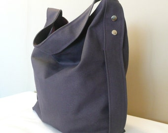 Gray Hobo Bag , Shoulder bag ,Diaper bag ,Large bag, Dark Gray Canvas With Purple lining,...DESIRE