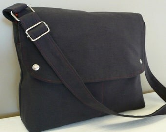 Men Messenger / Dark Gray Canvas / Claret Red Lining / Adjustable strap / Women Messenger / Travel Bag