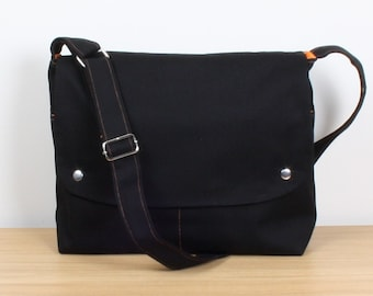 Men Messenger / Black Canvas / Orange Lining / Adjustable strap / Women Messenger / Travel Bag / BLACK CITY..