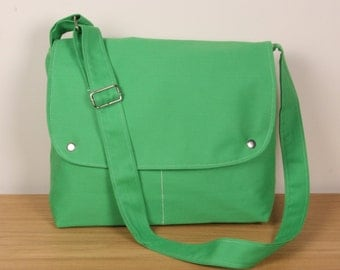 CITY.. Messenger Bag laptop bag shoulder bag School bag , Green ,adjustable strap