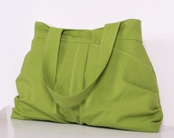 Green Everyday bag ,Pleated Bag, Diaper bag , Shoulder Bag ,Large ,Tote bag