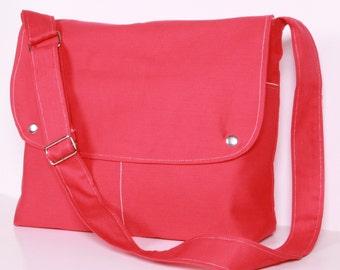 Pink Messenger Bag,Shoulder bag ,School Bag, Diaper Bag, Pink canvas with Cream lining ,adjustable strap
