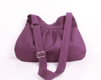 Pleated Bag, Everyday bag ,tote bag ,handbag,  Shoulder Bag,Purple,  Adjustable strap, and Purple lining