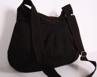 Everyday bag , Tote bag ,Handbag ,Shoulder Bag, Adjustable strap, Black Cotton and Burgundy lining