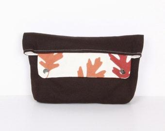 Clutch , pouch ,Dark Brown canvas with cream lining....ZEN ...